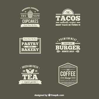 Retro restaurants etiketten
