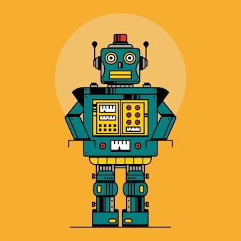 Retro-roboter-vintage-spielzeug roboter-vektor-illustration im flachen stil-design vintage zinn-roboter-spielzeug