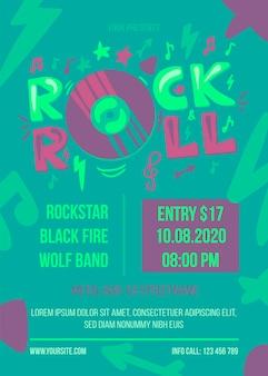 Retro rock and roll musik fest poster vorlage. werbebannerskizze für das musikfestival. hipster party flyer artwork. vinyl record emblem design element. flache karikaturillustration