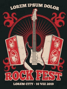 Retro rockmusik-bandplakat mit gitarre. rockmusikfestival-schmutzillustrationsfahne im roten schwarzen