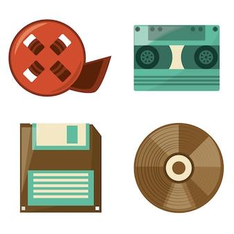 Retro-rollenfilm, diskette, kassette und cd spielen