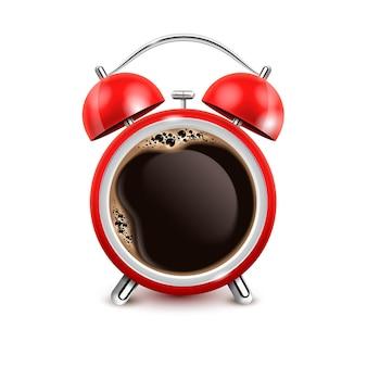 Retro roter wecker mit schwarzem kaffee in der mitte