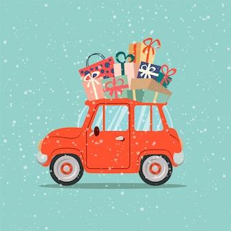 Retro- rotes auto mit weihnachtskiefer auf dach und geschenkboxen. frohe weihnachten grußkarte. flache vektorgrafik.