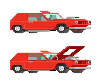 Retro rotes Muskelauto mit der offenen und nahen Haube, Selbstabstimmen