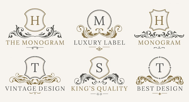 Retro royal vintage shields logo gesetzt. vektorkalligraphie luxuslogogestaltungselemente.