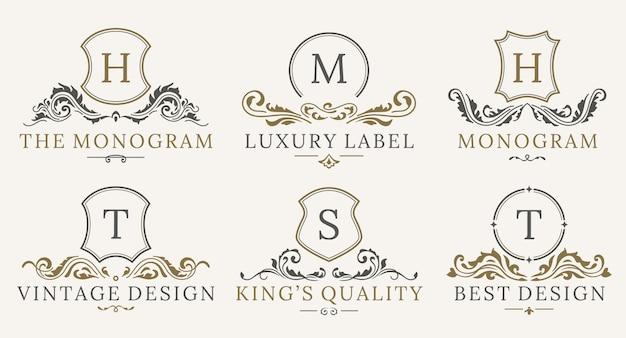 Retro royal vintage shields logotype set