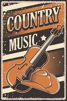 Retro rustikales country-musik-poster