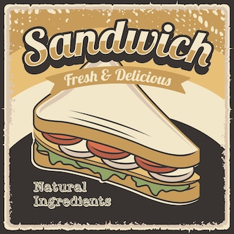 Retro rustikales sandwich poster wanddekor