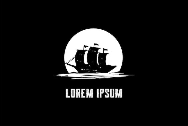Retro rustikales wikinger-piraten-schiffs-boot mit mond-logo-design-vektor