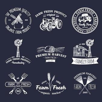 Retro-satz von bauernhoffrischen logos