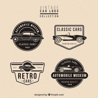 Retro satz von vier logos mit autos