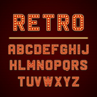 Retro schild alphabet buchstaben mit glühbirnen lampen