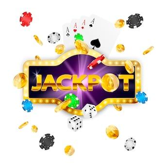 Retro schild jackpot. fallende münzen, pokerchips, karten, würfel.