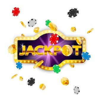 Retro schild jackpot. fallende münzen und pokerchips.
