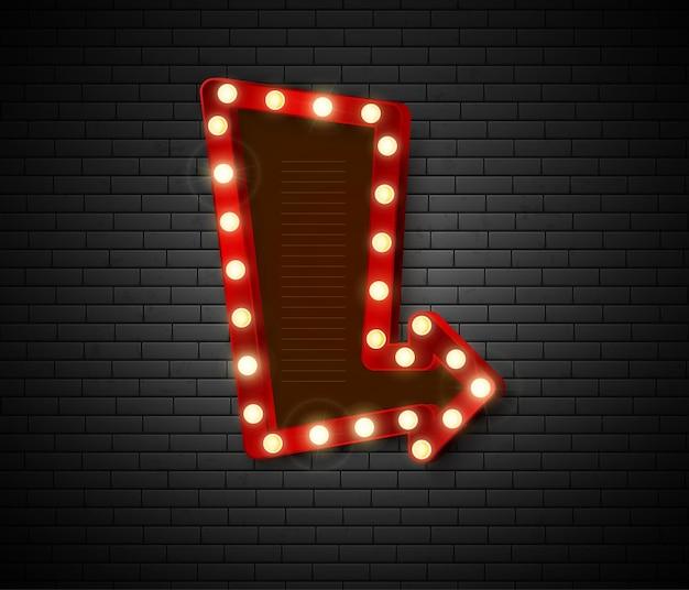 Retro-schild mit glänzender lichtillustration