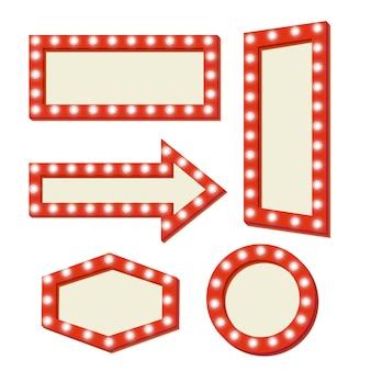 Retro schild mit lichtern. roter rahmen mit neonlichtern. einfacher und leerer retro- rahmen.