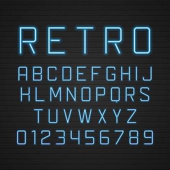 Retro- schildalphabetbuchstaben mit hellem neonlampenelementsatz.