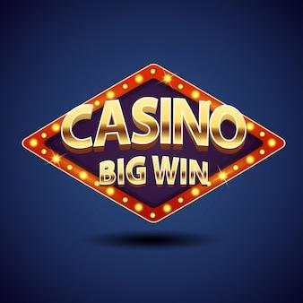Retro-schilder casino großer gewinn mit goldenen buchstaben.