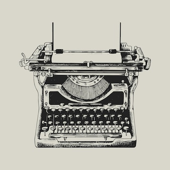 Retro-schreibmaschinenlogo-geschäfts-unternehmensidentitätsillustration