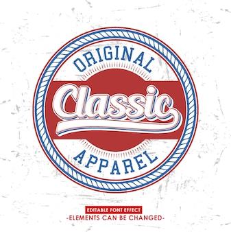 Retro schrift effekt und abzeichen logo für kleidung oder produkt-label