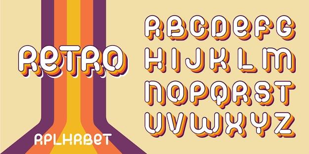 Retro-schriftart. briefe der ästhetik der 70er-80er jahre. vektoralphabet im geschichteten stil.
