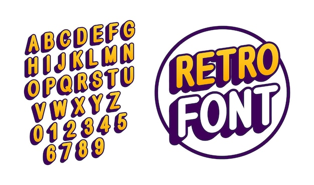 Retro-schriftart für logo-design. englische großbuchstaben
