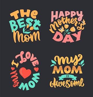 Retro-schriftzug über die liebe zu müttern.