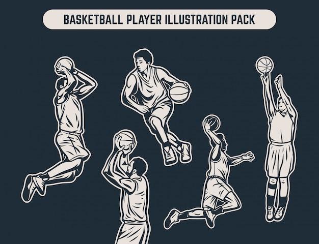 Retro schwarzweiss-illustrationssatz der weinlese des basketball-spielers