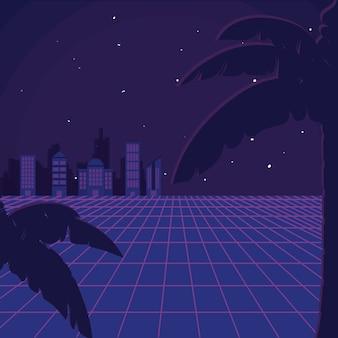 Retro sciencefictionshintergrundlandschaft