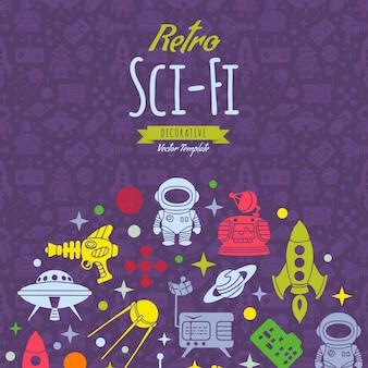 Retro sciencefictionvektor, der entwurf verziert