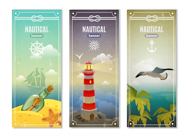 Retro sea nautical vertical banner