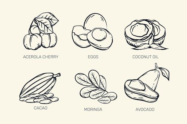 Retro-skizze der superfood-sammlung