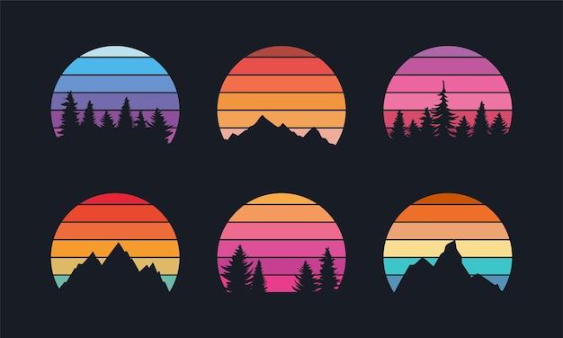 Retro-sonnenuntergang-kollektion für banner oder print im 80er-jahre-stil mit bergen und waldbäumen