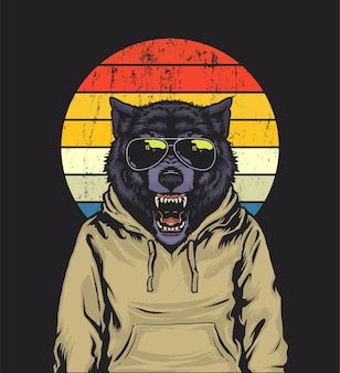 Retro sonnenuntergang wolf illustration