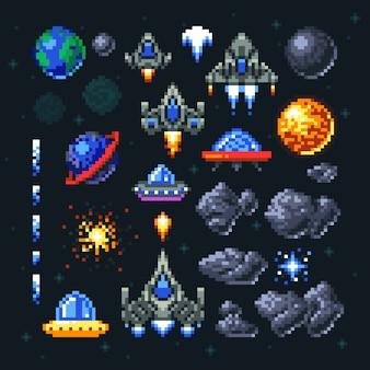 Retro space arcade-spiel pixel-elemente.