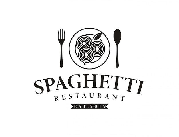 Retro spaghetti-teigwarennudellogo des vintagen hipsters