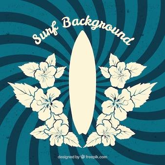 Retro spirale hintergrund mit hand gezeichneten blumen und surfbrett