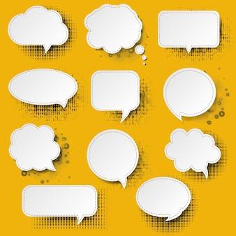 Retro-sprachblase mit gelber hintergrundillustration