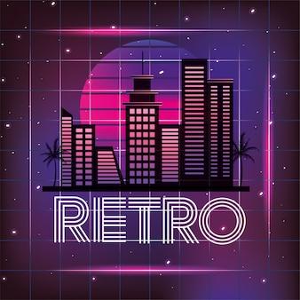 Retro stadt mit grafischer neonart