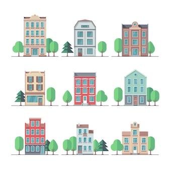 Retro stadthäuser. vintage wohngebäude vektorsatz. gebäudehaus und haus, stadtwohnungsstraßenillustration