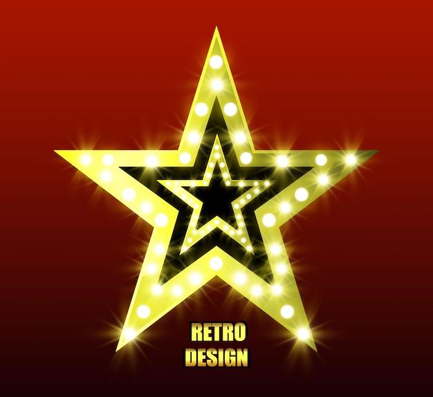 Retro-star. heller fünfzackiger stern. goldener stern. stern mit taschenlampen. helle laternen.