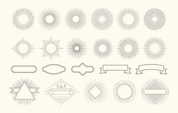 Retro-starburst-set. vintage sunburst-grafikelemente. sunrise kreislinie dekorationen. abzeichen mit strahlen, dekorative etikettenrahmen