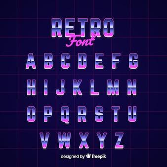 Retro- stil der dekorativen alphabetschablone