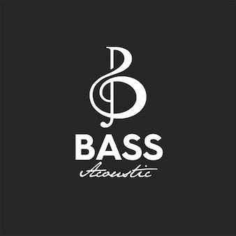 Retro-stil-logo für bassgitarre akustisch, logo-premium-vektor