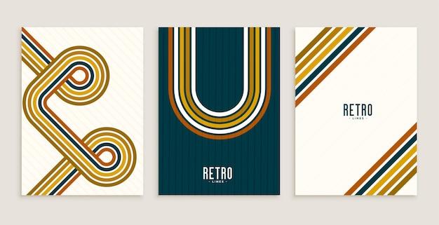 Retro-stil streifenlinien fließen poster designs Kostenlosen Vektoren