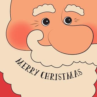 Retro-stil weihnachtskarte mit santa claus - vektor-vorlage mit kopie raum