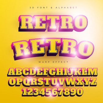 Retro stilisierter beschriftungstext 3d