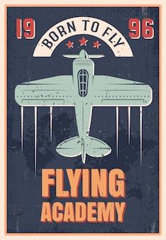 Retro-stilplakat der fliegenden akademie des blauen flugzeugs mit propeller, vektorillustration