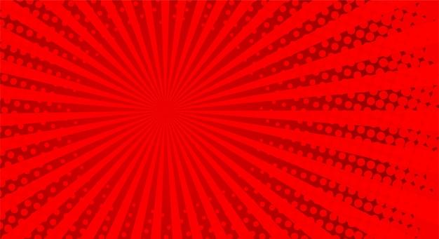 Retro strahlen comic. roter farbverlauf halbton hintergrund. pop-art-stil.