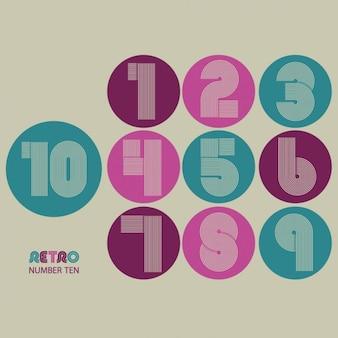 Retro streifen flippige zahlen settrendy elegante retro-stil-design vektor-design